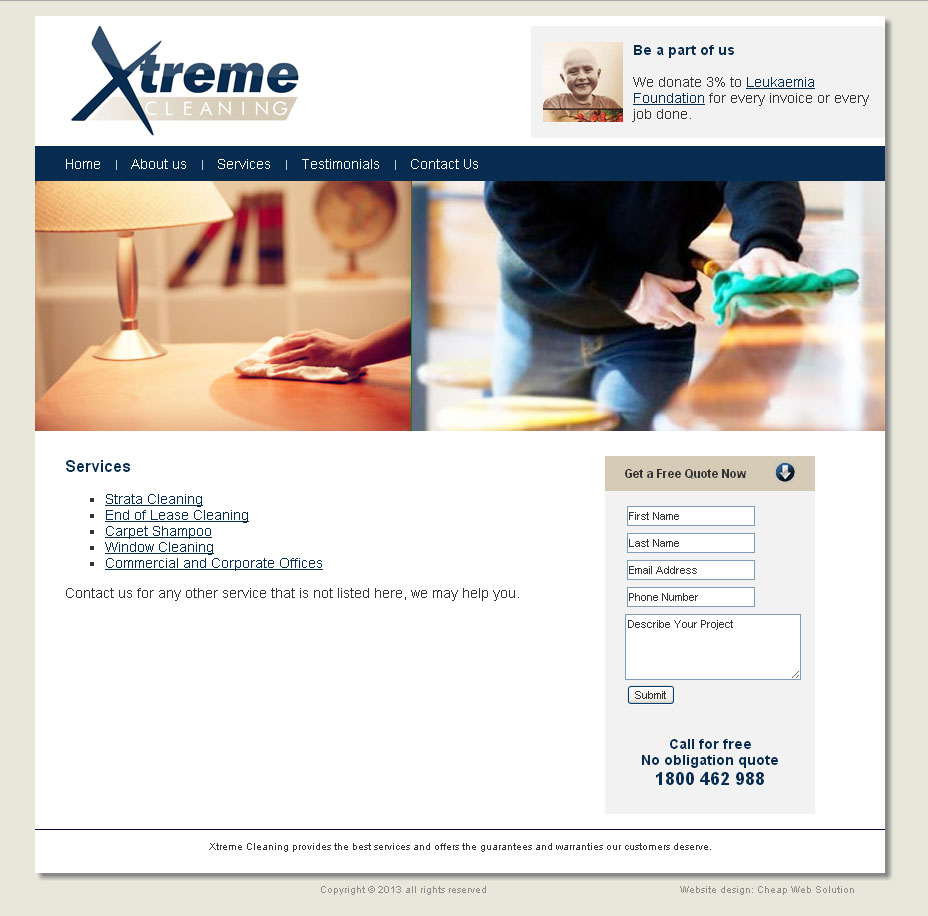 Cleaning business web design